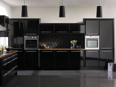 High Gloss Black Vinyl Wrap Kitchen Cabinet Bedroom Furniture Air/bubble Free