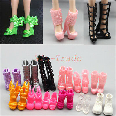 10 Pair Mixed Style Daily Wear Heels Boots Sandals Shoes for Barbie Doll Clothes