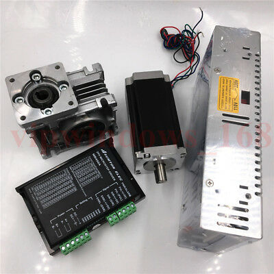 Nema23 Stepper Motor L76mm Driver Kit + 10:1 Worm Gearbox+250W Power Supply Kit
