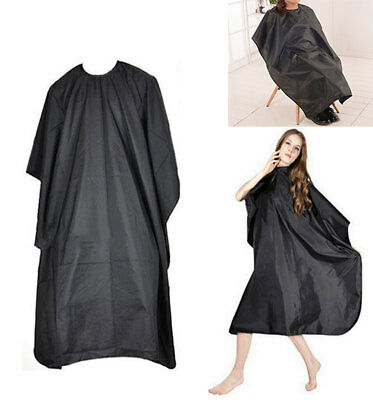 Hair Cutting Cape Pro Salon Hairdressing Hairdresser Gown Barber SOLID BLACK US