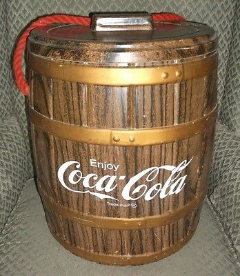 Vintage Coke Cooler  simulated Wood Barrel (plastic and styrofoam) RARE survivor