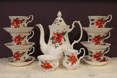Royal Albert Poinsettia 15 Pc. Coffee Pot, Cream Sugar And 6 Tea Cup And Saucers