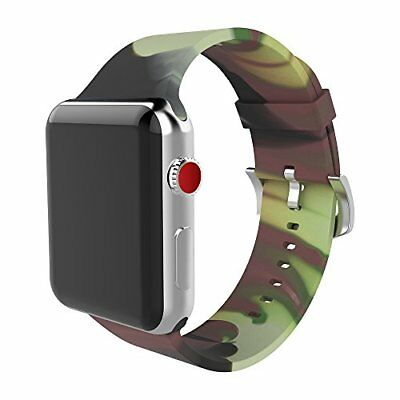 Watch Band For Apple Series 1/2/3 Stylish Silicone Replacement Strap-42mm Camo