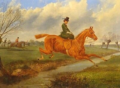 Fine 19th Century English Lady & Horse Riding Landscape Antique Oil Painting
