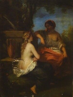 Fine 19th Century French Classical Nude Nymph & Lady Antique Oil Painting