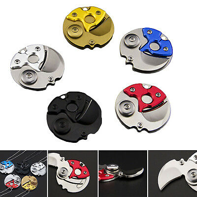 Mini Coin EDC Keyring Keychain Necklace Stainless steel Neck claw knife Cool