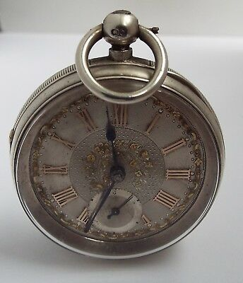Superb Quality English Antique 1896 Solid Silver Pocket Watch Fine Working Order