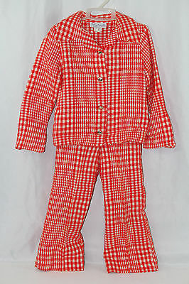 Vintage Girls 2 Piece Suit Red White Teddy Gee American Maid Houndstooth 4T 70s