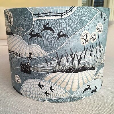 Handmade Fabric Lampshade Into The Woods Blue Countryside Woodland Trees Hares