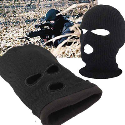 Unisex Man Woman 3Hole Ski Mask Black Knitted Hat Face Beanie Knit Snow Winter