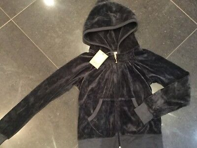 "NWT Juicy Couture New & Genuine Girls Age 8 Dark Grey Velour Hoody With ""J"" Pull"