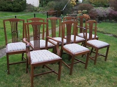 Set of 8 Mahogany Dining Chairs inc 2 Carvers and 6 Dining Chairs, Drop in Seats