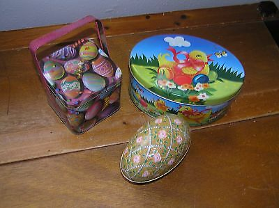 Lot of 3 Easter Eggs Square Mini Lunch Box with Handle & Oval Yellow Chick Tin