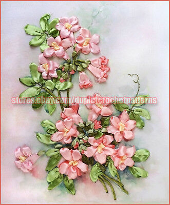 ribbon embroidery DIY kit Tecoma Flowers wall hanging room decor