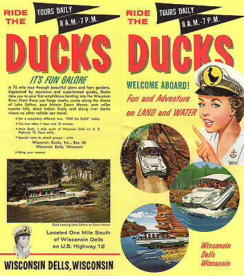 The Ducks Tour Wisconsin Dells Vintage Brochure Colorful Illustrated Route Map
