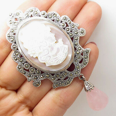 925 Silver Pink Mother-Of-Pearl Victorian Lady Cameo Marcasite Quartz Pin Brooch