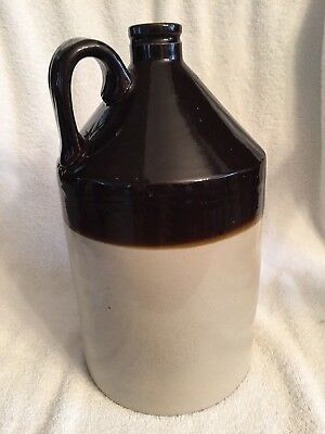 Vintage Moonshine 1+ Gallon Brown & Cream 2 Tone Ceramic Finger Jug!