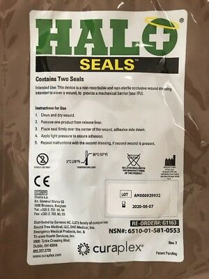Halo Chest Seals - Occlusive Dressings - 2 Per Package Exp: 06-07-2020
