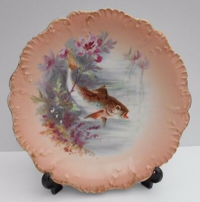Limoges Fish Plate French Porcelain Laviolette Factory Hand Painted Fish #3