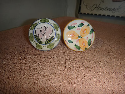 2 Vintage Drawer Pulls Knobs Ceramic Hand Painted Large