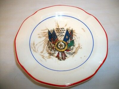 "Vintage Universal Potteries Ashtray ""Texas Under Six Flags"" 1836-1936"