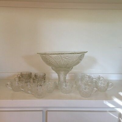 """vintage Colonial style punch bowl & 15 cups press cut """"crystal"""" Thatcher Glass"""