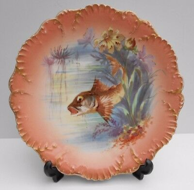 Limoges Fish Plate French Porcelain Laviolette Factory Hand Painted Fish #4
