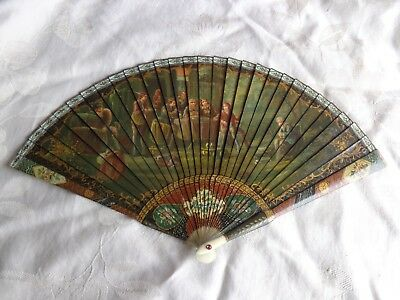ANTIQUE 19thC FRENCH VERNIS MARTIN BONE SCENERY FIGURES FLORAL HAND PAINTED FAN
