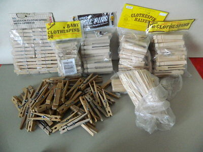 Large Lot of 220 Wood Clothespins Mostly NOS w/over 200 Popcicle Sticks Included
