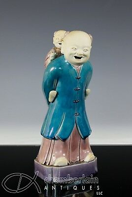 Fine Antique Chinese Porcelain Statue Of Standing Figure With Child On Back