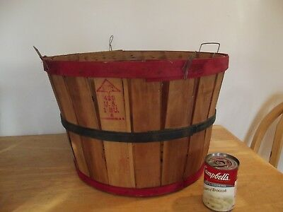 Vintage Apple Bushel Basket Antique Old Garden Kitchen Bentwood Basket