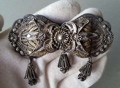 MAGNIFICENT ANTIQUE Ottoman belt buckle hand-knitted SILVER filigree XIX century