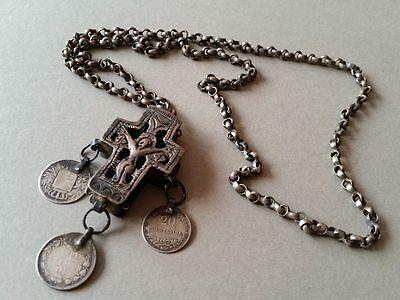 AUTHENTICITY Silver alloy Cross-box for amolet BALKAN-Ottoman with silver coins