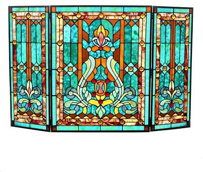 Tiffany Style Stained Glass Fleur De Lis Fireplace Screen Blue Green Victorian