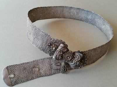 MAGNIFICENT RARE ANTIQUE ORIGINAL OTTOMAN filigree SILVER hand knitted BELT XIXc