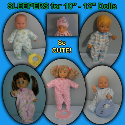 "Footed SLEEPER, BIB, CAP for 10"" & 12"" Dolls - Clothes Handmade by the Crafty-Gr"