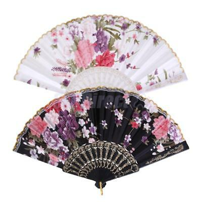 Rose White & Black Spanish Flower Floral Fabric Folding Hand Dance Fan Party