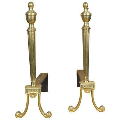 Pair Of French Brass Andirons