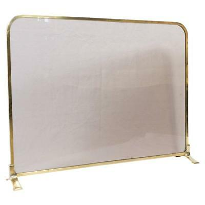 Vintage French Brass And Glass Fire Screen