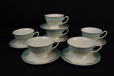 Beautiful Blue Striped Fine Bone China Tea Cup and Saucer Set