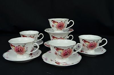 Bird And Pink Bloomed Rose, New Bone China, Set Of Six Tea Cups & One Saucer