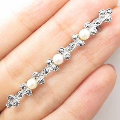 Vtg Signed 925 Sterling Silver Real Pearl Marcasite Gemstone Long Pin Brooch