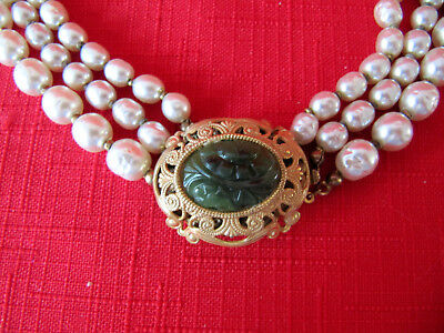 Vintage Miriam Haskell Triple Strand Baroque Pearl Necklace w/ Jade Glass Clasp