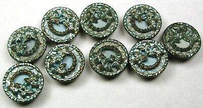 """Set of 9 Antique Metal & Brass Button Blue Tinted Flowers Image - 1/2"""""""