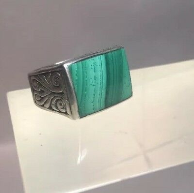 Vintage Engraved Sterling Silver Man's Ring Malachite Size 7