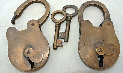 "2 Vintage style PADLOCK & Keys Solid Brass Antique age Lock pair hand made 4"" B"
