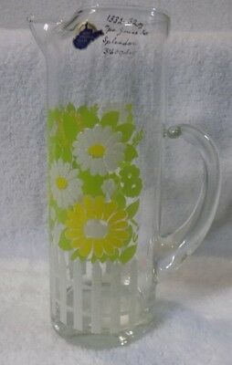 Vintage West Virginia Hand Made Glass Pitcher White Picket Fence Daisies 32 oz.