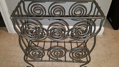 solid wrought Iron Art Decor Magazine rack with spiral design circles