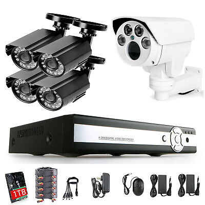 8CH 1080N HDMI DVR 720p Outdoor Security Camera System with Hard Drive 1TB PTZ
