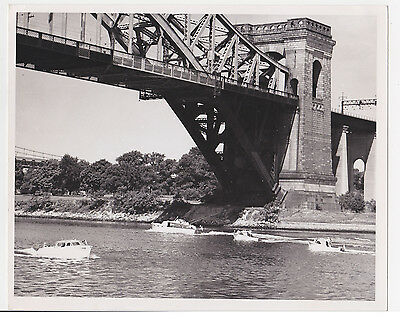 OLD Bridge beautiful Architecture w BOATS  Vintage silver Gelatin PHOTO